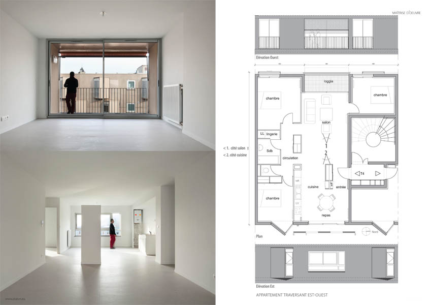 Appartement traversant avec un volume cuisine + séjour + loggia