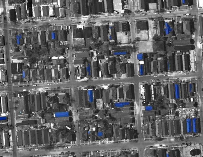 Vue aérienne : chaque aplat bleu est une bâche étanchant les toits abîmés par l'ouragan